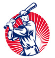 American baseball player retro vector