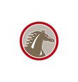 Horse head angry circle retro vector