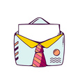 Blue open envelope with red tie on white vector