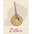 Tipical portuguese fado guitar over lisbon map and vector