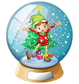 An elf in front of a christmas tree inside a vector