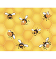 Bees and bees honeycomb seamless pattern vector
