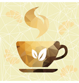 Abstract cup of coffee on a geometric background vector