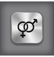 Male and female icon - metal app button vector