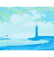 Lighthouse seen from a tiny beach vector