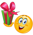 Emoticon with gift vector