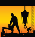 Workers on a construction site vector