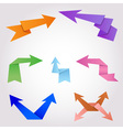 Colorful origami arrows made of folding paper vector