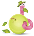 Little worm and apple vector