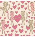 Love cats seamless pattern for valentines day vector