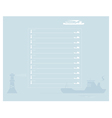 Sheet of notebook with a ship and lighthouse vector