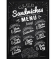 Sandwiches menu chalk vector