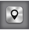 Map pointer icon - metal app button vector