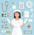 Nurse showing medical tools and medicament vector