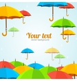 Colorful umbrellas fly flat design vector
