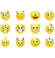 Set of smileys style toothy alien monsters vector