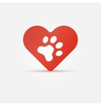 Pet paw in red heart animal love icon vector