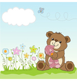 Childish greeting card with teddy bear and his toy vector
