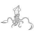 Squid ocean water animal sketch tattoo vector