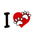 I love text with red heart and paw print vector
