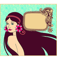 Beautiful brunette girl on floral background vector