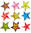 Nine hand draw christmas star vector