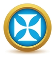 Gold religion cross icon vector