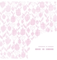Pink textile tulips texture frame corner pattern vector