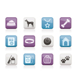 Dog accessory and symbols icons vector