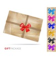Gift package of old paper with a bow vector