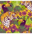 Tropical floral seamless background with tiger vector