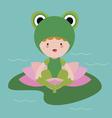 Cute little baby frog vector