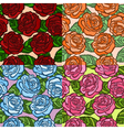 Set of seamless background roses with green leaves vector