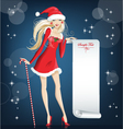 Girl santa claus happy christmas and new year vector
