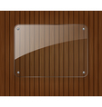 Glass banner on wooden background vector