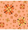 Orange flowers with bows seamless pattern vector