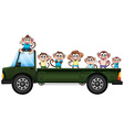 Truck and monkeys vector