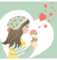 Beautiful girl in love with rose vector