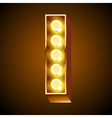 Realistic old lamp alphabet for light board vector