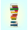 Exclamation from stacks of multi colored books vector