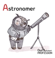 Alphabet professions owl letter a - astronomer vector