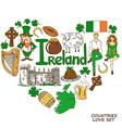 Heart shape concept of irish symbols vector