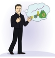 Smiling businessman standing think vector