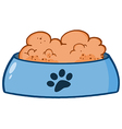 Dog bowl with food vector