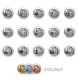 Document icons 2 metalround series vector