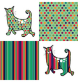 Retro style cats and backgrounds vector