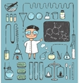 Young girl chemist and laboratory tools collection vector