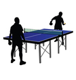 Two men playing table tennis vector