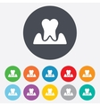 Parodontosis tooth sign icon dental care symbol vector