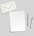 White sheet envelope pen and pencil on the table vector